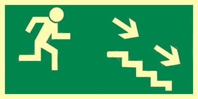 Z.AA Kierunek do wyjścia schodami w dół w prawo 15×30 004 CEPS